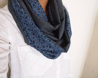 Snood collar double mid-season, floral patterns