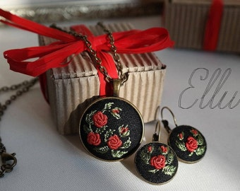 Embroidered earring Red rose jewelry set Eco pendant Hand embroidery Flower wife jewelry Unusual present Floral necklace Ukrainian jewelry