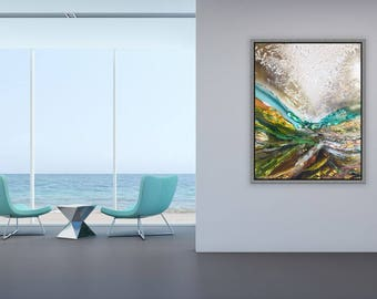 WATERFORD 1 ,original art,resin art, contemporary landscape, original abstract, large painting, luxury gift,Channel 4 artist.