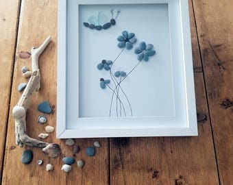Handmade 'Dragonfly and Dandy Petals' pebble and sea glass picture