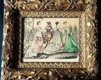 Original Godey's Fashion 1868 Catalogue Print in Gorgeous Wood Carved Frame