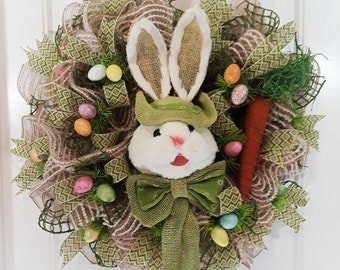 Easter Wreath - Easter Bunny Wreath Deco Mesh - Bunny Wreath with Green Details and Easter Eggs and a Big Carrot. Perfect Easter Wreath!