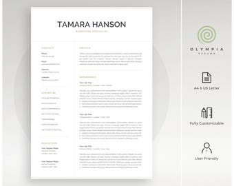 modern resume template professional cv template for word instant download 1 and 2 - Resume Template Mac