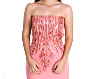 Embroidered Peach gown