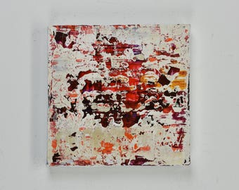 "ORIGINAL Abstract Painting ""Kiss"" by Lisa Carney, Textured Acrylic, Modern Abstract, Minimalist Painting, Reductive Art, Small, white, red"