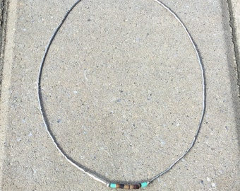 Liquid Silver Necklace with Brown & Turquoise Tube Beads - Native American 1970s