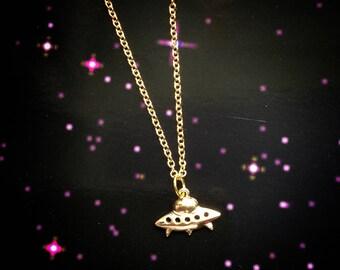 Gold UFO necklace, choker, 90s, Alien necklace