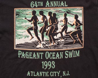 1993 Pageant Ocean Swim T-Shirt, Atlantic City NJ, Vintage 90s, 64th Annual Open Water Swimming Race, New Jersey, Ringer Graphic Tee