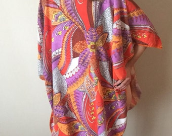 Psychedelic Tunic | one size / plus size 60s mod vintage pattern retro cover all bell sleeve mini dress TUNIC xxl xl OSFM warm orange swirls