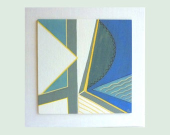 cubist art painting, 8 x 8 geometric art, abstract wall art, gouache painting