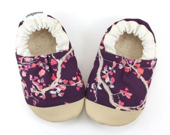 cherry blossom shoes purple flower shoes rubber sole baby girl gift toddler rubber toe shoes soft sole shoes vegan baby non skid moccs