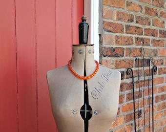 60s moonglow necklace / 1960s orange beaded necklace / mid-century jewellery / vintage jewelry /costume jewellery