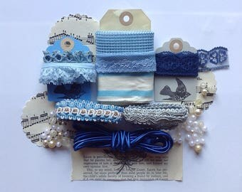 5 metres (5.5 yards) of blues and creams  vintage lace an bead collection/ destash