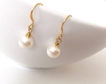 Dainty Gold Wire Wrapped Swarovski Pearl Dangle Earrings