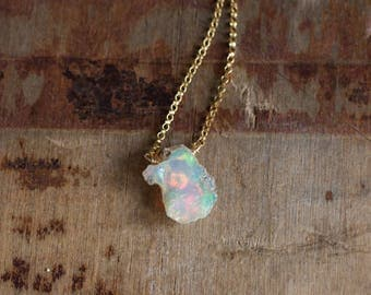 Raw Opal Necklace, October Birthstone, Rough Fire Opal Necklace, Ethiopian Opal Jewellery, Welo Opal Necklace, Raw Crystal Jewelry