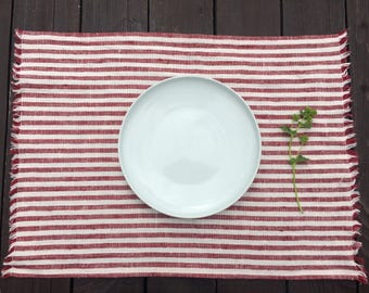 Red and White Striped Placemats, Linen Placemats, Dark Red Striped Placemats