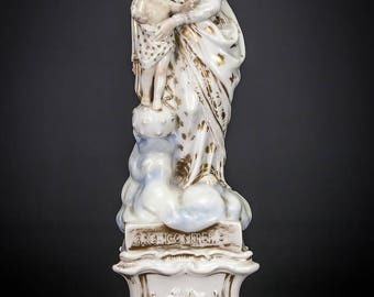 """RARE 11"""" Antique Madonna w Child Christ Vieux Old Paris Porcelain Statue Virgin Mary"""
