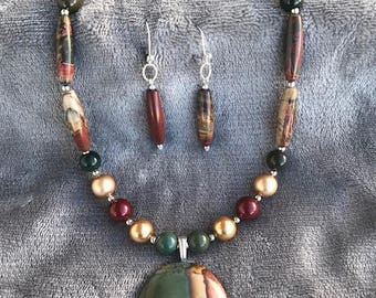 Picture Jasper Necklace with Greens, Reds and Browns
