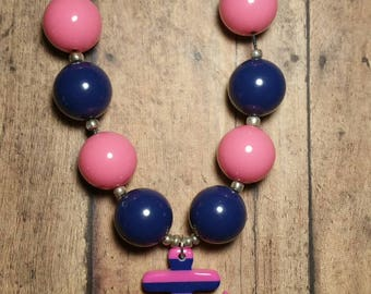 Anchor Bubblegum Necklace, Pink and Navy