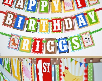 Farm Birthday Party Banner Decorations Fully Assembled | Farm Animal Banner | Petting Zoo Party | Barn Birthday | Barnyard Birthday Party