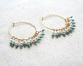 Turquoise Hoop Earring, Pearl Earrings, Turquoise Jewelry, Boho Hoop Earrings, Bohemian Jewelry