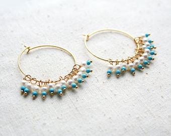 Turquoise Hoop Earring, Pearl Earrings, Turquoise Jewelry, Boho Hoop Earrings, Bohemian Jewelry
