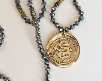 Dragron Necklace Sunny Bronze Medallion Jewelry Hand Knotted Crystal Necklace