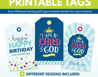 2018 LDS Primary Theme Gift Tags - I am a Child of God