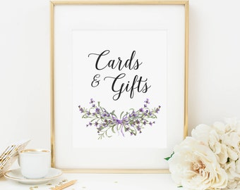 Lavender Floral Cards and Gifts Sign Printable Purple Floral Cards and Gifts Sign Spring Floral Shower Table Sign Wedding Reception Sign 230
