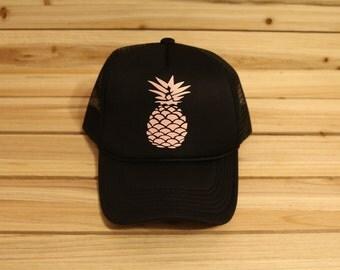 Pineapple Trucker Hat- Custom Trucker Hat- Pineapple- Hat- Hats- Custom Hat- Trucker Hats for Vacation- Fun Trucker Hats-Pineapple Apparel