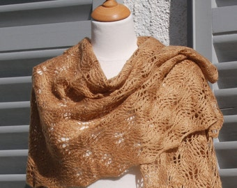 Pearl camel hand knitted lace shawl