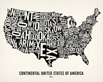 "USA and its 48 Contiguous States — 25x19"" Map Poster — Screen Print"