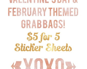 Valentine' Day/ February Themed Planner Sticker Grab Bag: 5 for 5 Sticker Sheets