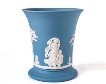 Wedgwood Jasperware Vase 1960's White Relief Wedgwood Classic Sacrifice Design on Matte Blue Jasperware Flared Posy Vase / Wedgwood Vase