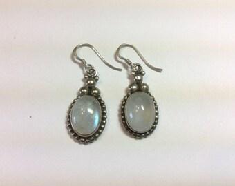 Dangle Moonstone fishhook earrings 925 sterling silver