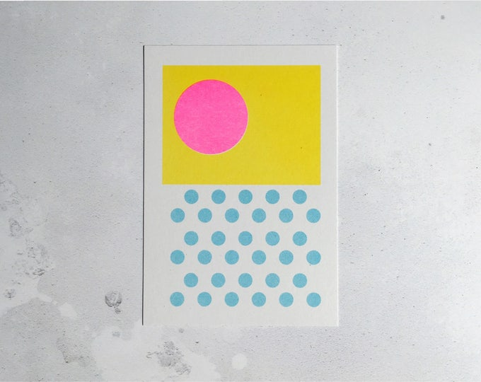 Sunshine on a rainy day - Mini pattern print - Risograph print A6