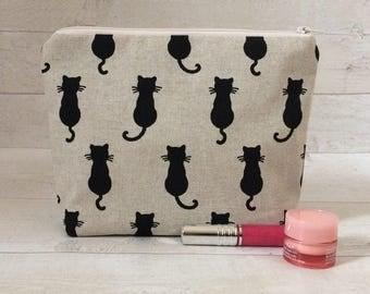 Cat makeup bag, cat cosmetics bag, cat toiletry bag, cat makeup pouch, black cat bag, cat lover, cat pouch, fabric makeup bag