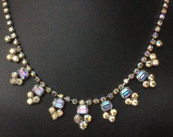 Vintage 1950's aurora borealis rhinestone necklace