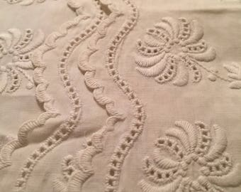 Antique 1880 embroidery trim Hand made Threadwork Floral 2 y 14 by 3 inch For clothing craft accessories scrapbooking sashiko sewing dolls