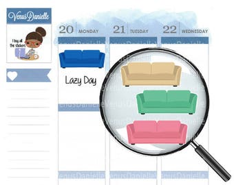 30 Couch Planner Stickers, Sofa Stickers, Lazy Day Stickers