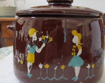 Vintage WEST BEND Brown Bean Pot Crock Canister Cookie Jar Pottery Stoneware