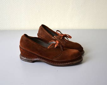 Vintage Wedge Shoes GIBET / vintage leather shoe for lady / 50s - 60s / woman EU size 36 - US size 5