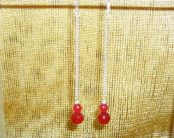 Silver Chain and Ruby Drop Earrings
