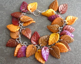 Autumn Leaf Bracelet Handmade Bracelet Bracelets for Women Polymer Clay Bracelet