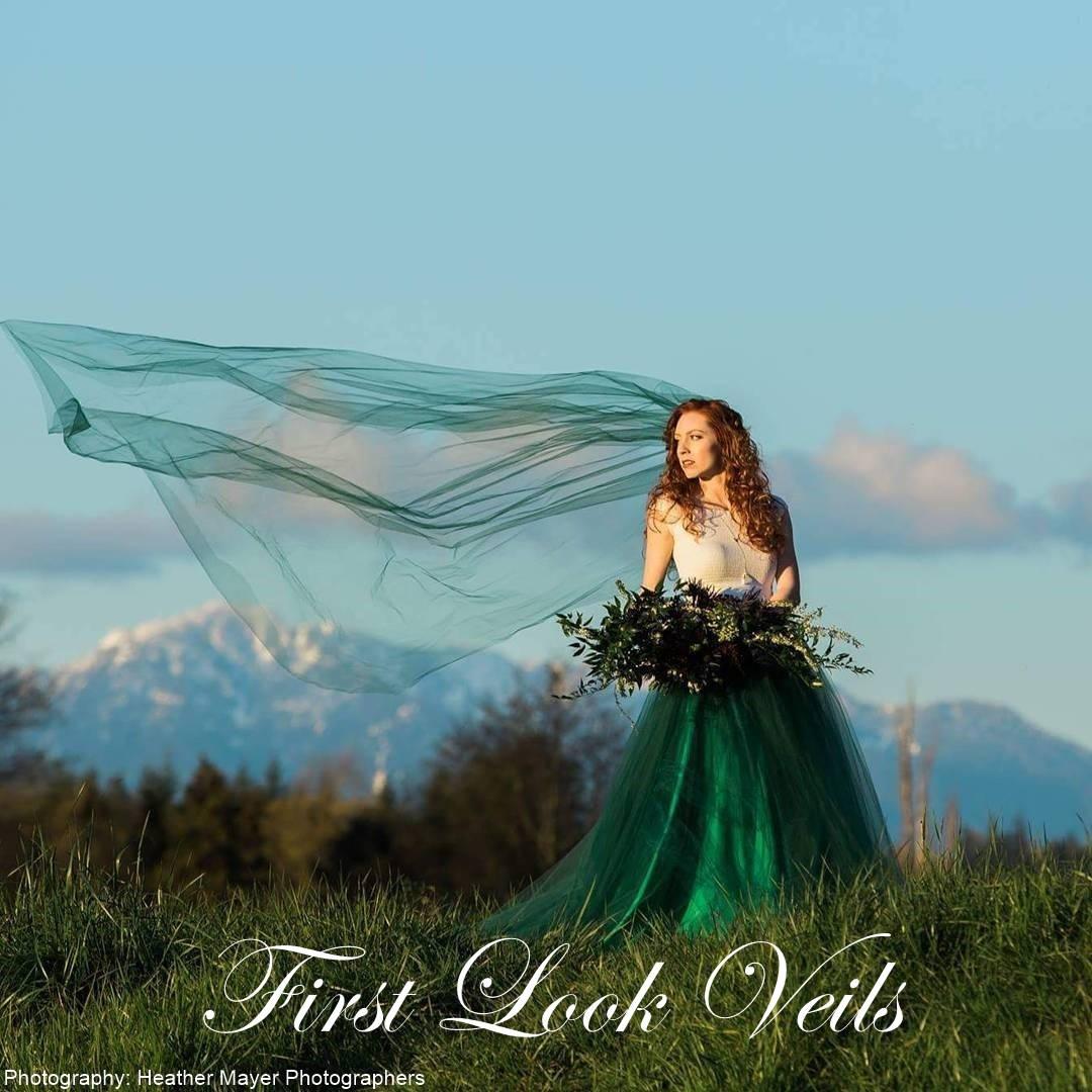 Green wedding veil cathedral bridal one layer plain