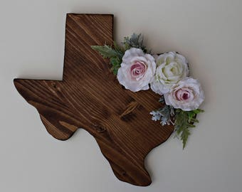 Wooden Texas Wall Decor- Soft Pink Flowers