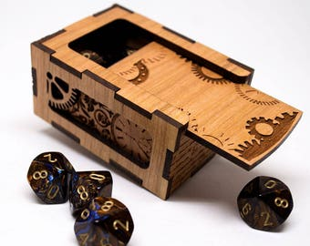 D&D Gaming Dice Box - Steampunk Gears - Dungeons and Dragons Dice Box - Personalized Steampunk Rpg Dice Box - Mtg Tcg or Tabletop Gaming