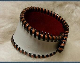 Velvet and white braided leather bracelet