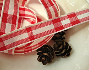 Red and Ivory Rustic Tartan Ribbon