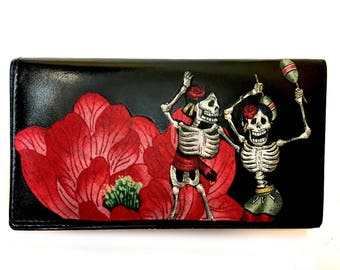 Leather Bifold Wallet Day of the Dead Skeletons and Flower
